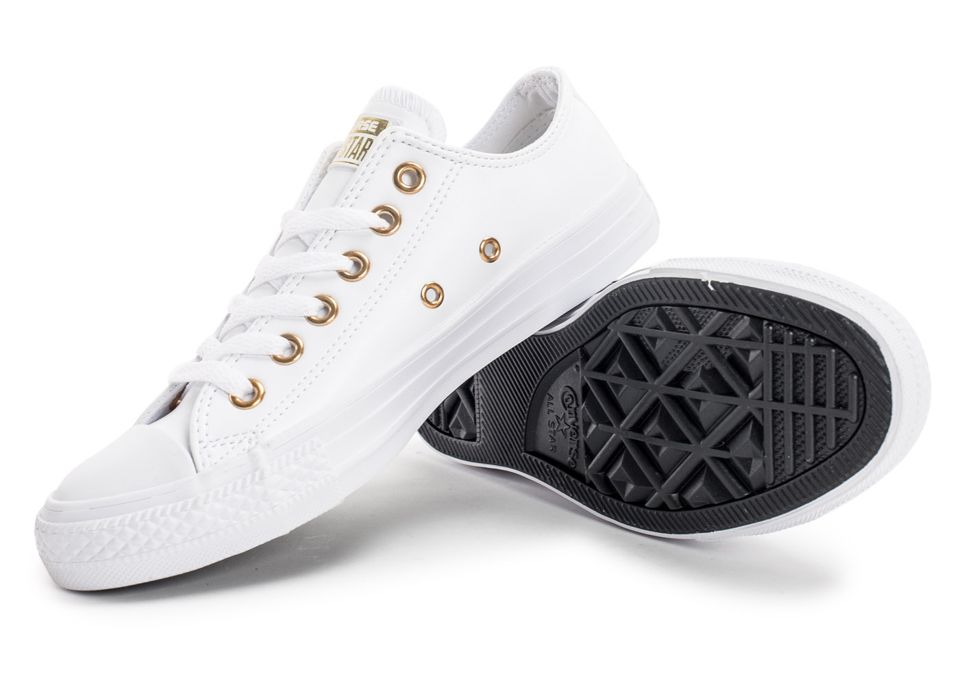 converse blanche et or