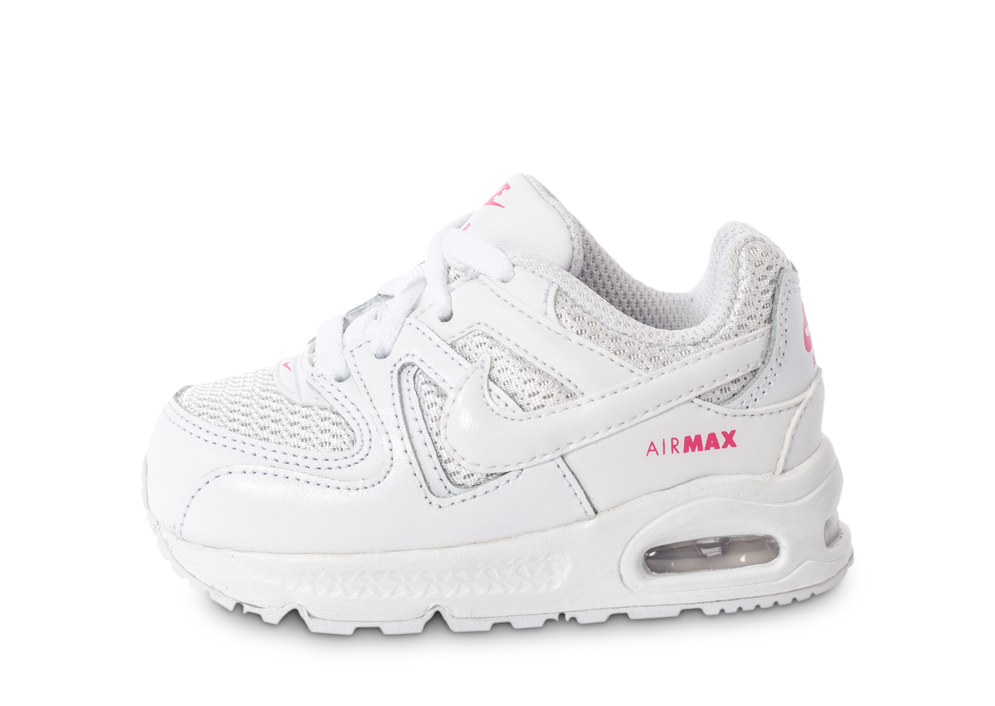 buy popular f4e56 164a6 ... chaussures nike air max command bebe blanche et rose vue exterieure