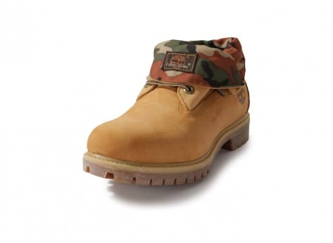 Chaussures Timberland 6-inch Icon Roll-top Camo Beige vue avant