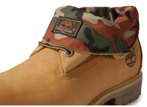 Chaussures Timberland 6-inch Icon Roll-top Camo Beige vue dessus