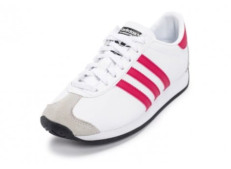 Chaussures adidas Country OG Junior blanche et rose vue avant