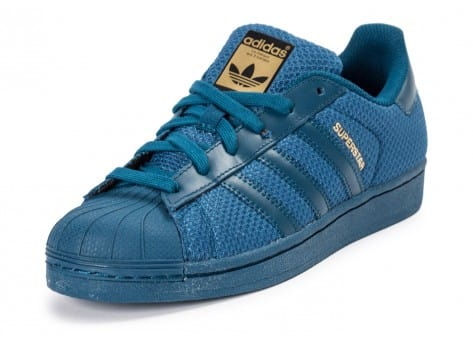Chaussures adidas Superstar Nylon Junior bleu marine vue avant