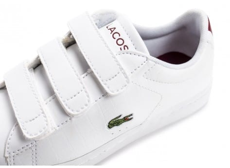Chaussures Lacoste Carnaby Evo enfant blanche et rouge vue dessus
