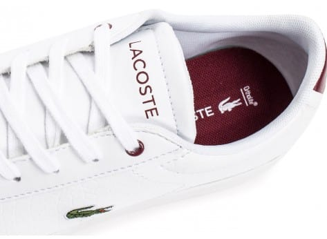 Chaussures Lacoste Carnaby EVO Croc blanche et rouge vue dessus
