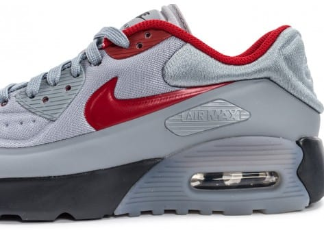 Chaussures Nike Air Max 90 Ultra Se Junior grise et rouge vue dessus