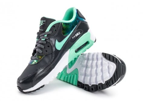 Chaussures Nike Air Max 90 SE Leather gris vert vue avant