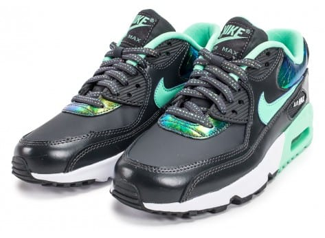 Chaussures Nike Air Max 90 SE Leather gris vert vue intérieure