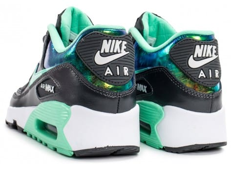 Chaussures Nike Air Max 90 SE Leather gris vert vue dessous