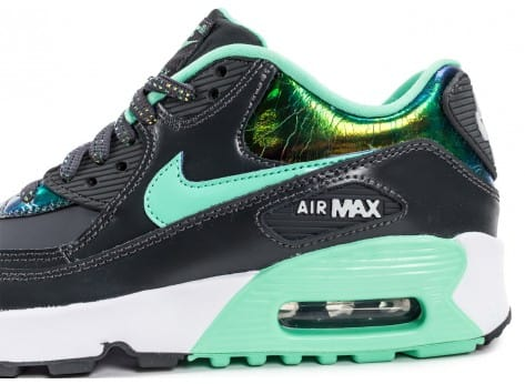 Chaussures Nike Air Max 90 SE Leather gris vert vue dessus
