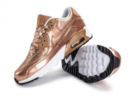 Chaussures Nike Air Max 90 SE Leather Metallic Bronze vue avant