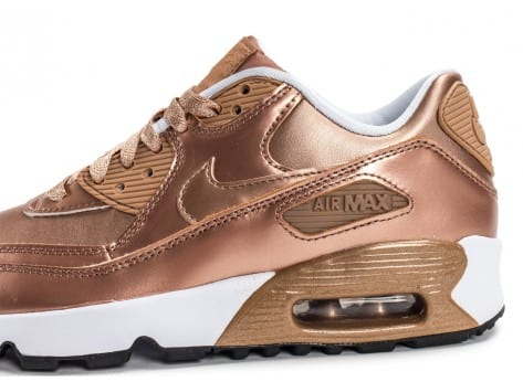 Chaussures Nike Air Max 90 SE Leather Metallic Bronze vue dessus