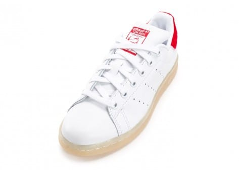 Chaussures adidas Stan Smith Wool blanche et rouge vue avant