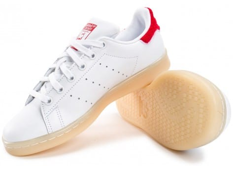 Chaussures adidas Stan Smith Wool blanche et rouge vue intérieure