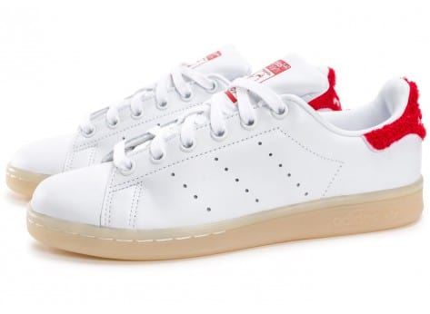 Chaussures adidas Stan Smith Wool blanche et rouge vue extérieure