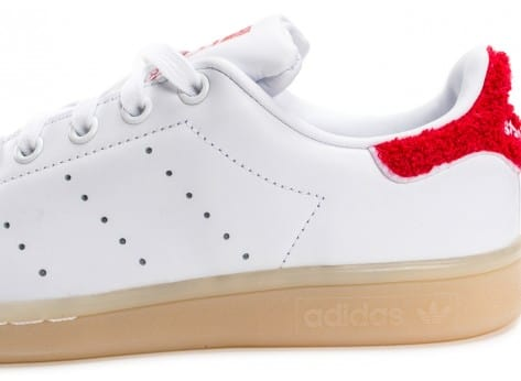 Chaussures adidas Stan Smith Wool blanche et rouge vue dessus