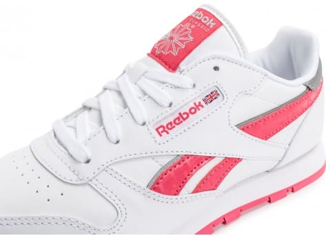Chaussures Reebok Classic Leather Reflect Junior blanche et rose vue dessus