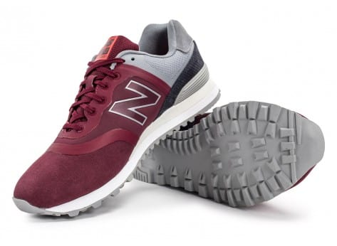 Chaussures New Balance 574 Re-Engineered Suede bordeaux vue avant
