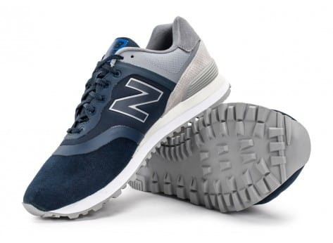 Chaussures New Balance 574 Re-Engineered Suede bleu marine vue avant