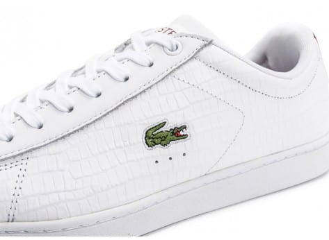 Chaussures Lacoste Carnaby Evo Croc blanche bordeaux vue dessus