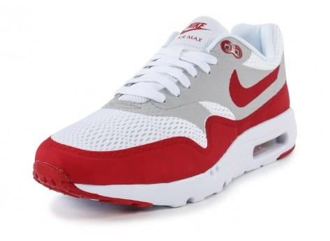 Chaussures Nike Air Max 1 Ultra Essential blanc rouge vue avant