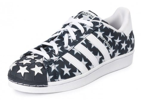 Chaussures adidas Superstar Shell Toe Star Pack bleu marine vue avant
