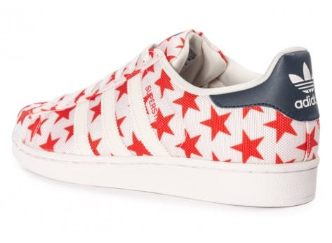 Chaussures adidas Superstar Shell Toe Star Pack blanche et rouge vue arrière