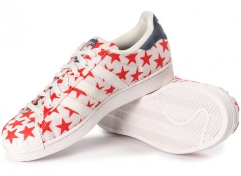 Chaussures adidas Superstar Shell Toe Star Pack blanche et rouge vue intérieure