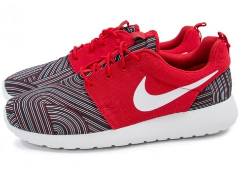 Chaussures Nike Roshe One Print rouge vue extérieure