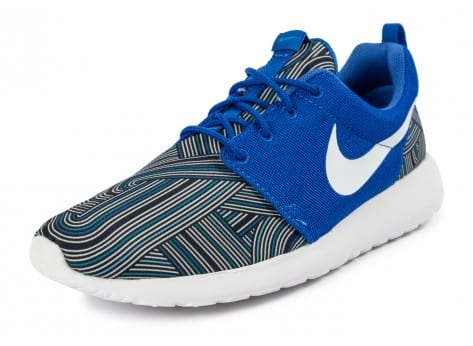 Chaussures Nike Roshe One Print bleue vue dessous