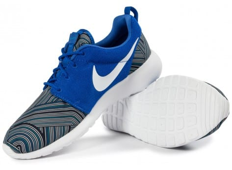 Chaussures Nike Roshe One Print bleue vue intérieure