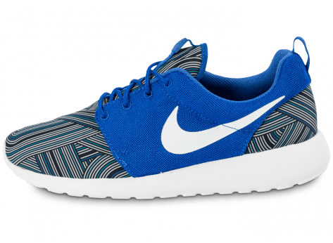 Chaussures Nike Roshe One Print bleue vue arrière