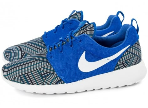 Chaussures Nike Roshe One Print bleue vue extérieure