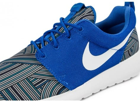 Chaussures Nike Roshe One Print bleue vue dessus