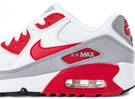 Chaussures Nike Air Max 90 Mesh Junior blanche et rouge vue dessus