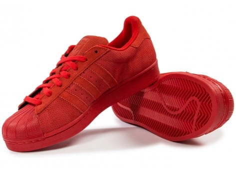 Chaussures adidas Superstar Suede rouge vue intérieure