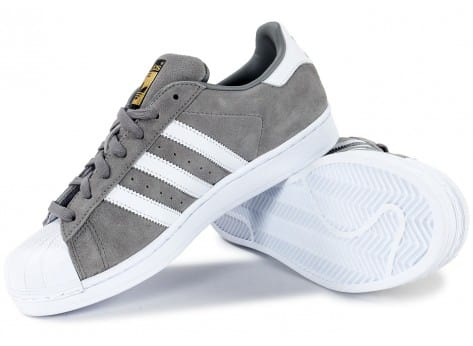 Chaussures adidas Superstar Suede grise vue intérieure