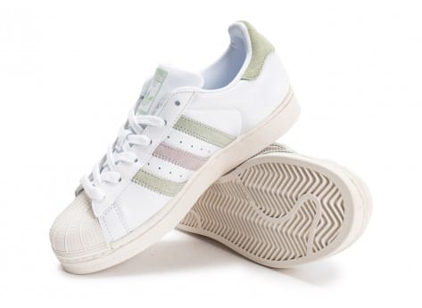 Chaussures adidas Superstar Cuir Core blanche vue avant