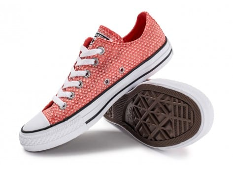 Chaussures Converse Chuck Taylor All-Star Snake Woven OX rouge vue avant