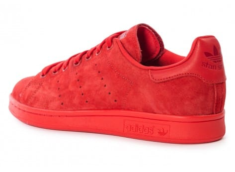 Chaussures adidas Stan Smith Suede monochrome rouge vue arrière