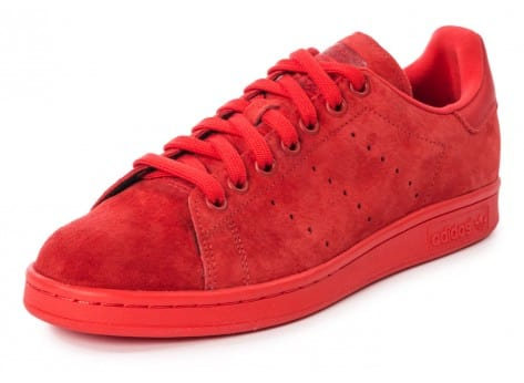 Chaussures adidas Stan Smith Suede monochrome rouge vue avant