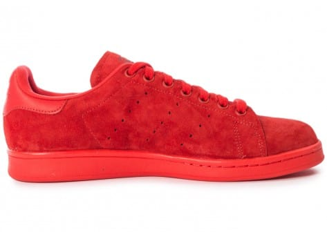Chaussures adidas Stan Smith Suede monochrome rouge vue dessous