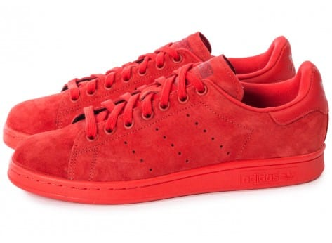 Chaussures adidas Stan Smith Suede monochrome rouge vue extérieure
