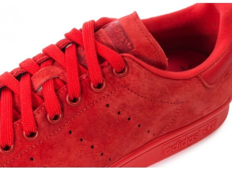 Chaussures adidas Stan Smith Suede monochrome rouge vue dessus