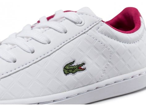 Chaussures Lacoste Carnaby Evo Enfant blanche et rose vue dessus
