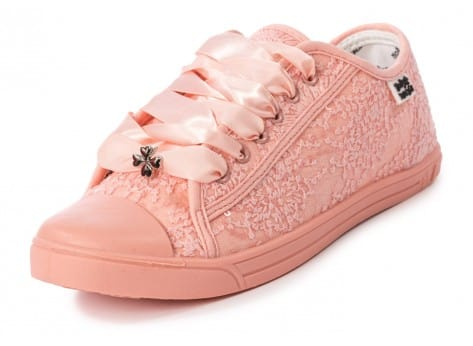 Chaussures Molly Bracken Derby Strass rose vue avant