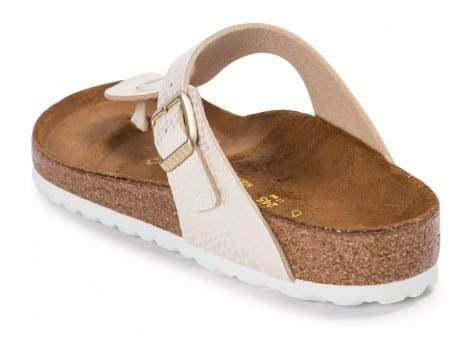 Chaussures Birkenstock Gizeh Shiny Snake Cream vue arrière