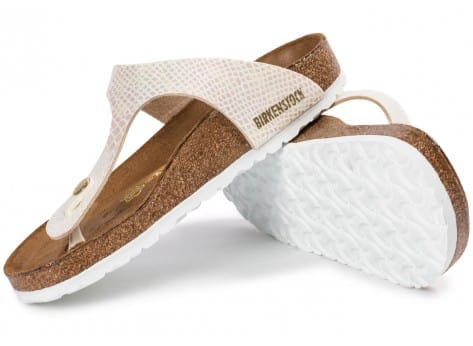 Chaussures Birkenstock Gizeh Shiny Snake Cream vue dessous