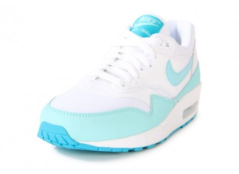Chaussures Nike AIR MAX 1 ESSENTIAL BLANCHE TURQUOISE vue avant