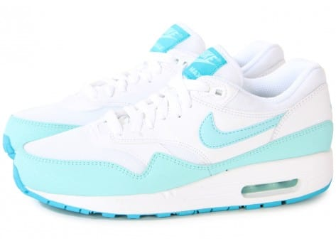 Chaussures Nike AIR MAX 1 ESSENTIAL BLANCHE TURQUOISE vue extérieure