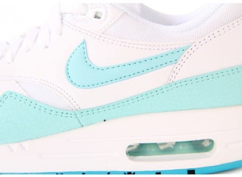 Chaussures Nike AIR MAX 1 ESSENTIAL BLANCHE TURQUOISE vue dessus